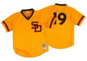 Wholesale Cheap Mitchell And Ness 1982 Padres #19 Tony Gwynn Gold Throwback Stitched MLB Jersey