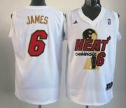 Wholesale Cheap Miami Heat #6 LeBron James 2012 NBA Finals Champions White With Red Jersey