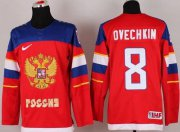 Wholesale Cheap 2014 Olympic Team Russia #8 Alexander Ovechkin Red Stitched NHL Jersey