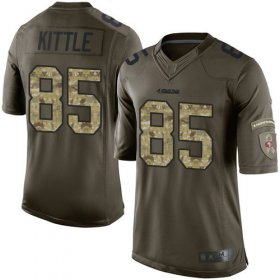 Wholesale Cheap Nike 49ers #85 George Kittle Green Men\'s Stitched NFL Limited 2015 Salute To Service Jersey