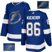 Wholesale Cheap Adidas Lightning #86 Nikita Kucherov Blue Home Authentic Fashion Gold Stitched NHL Jersey