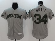 Wholesale Cheap Red Sox #34 David Ortiz Grey Flexbase Authentic Collection Memorial Day Stitched MLB Jersey