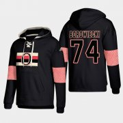 Wholesale Cheap Ottawa Senators #74 Mark Borowiecki Black adidas Lace-Up Pullover Hoodie