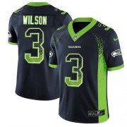 Wholesale Cheap Nike Seahawks #3 Russell Wilson Steel Blue Team Color Men's Stitched NFL Limited Rush Drift Fashion Jersey