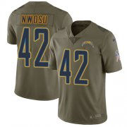 Wholesale Cheap Nike Chargers #42 Uchenna Nwosu Olive Youth Stitched NFL Limited 2017 Salute to Service Jersey