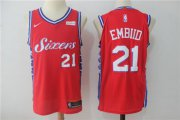 Wholesale Cheap Men's Philadelphia 76ers #21 Joel Embiid Red 2017-2018 Nike Swingman Stubhub Stitched NBA Jersey