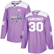 Wholesale Cheap Adidas Capitals #30 Ilya Samsonov Purple Authentic Fights Cancer Stitched NHL Jersey