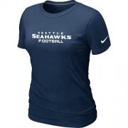 Wholesale Cheap Women's Nike Seattle Seahawks Sideline Legend Authentic Font T-Shirt D.Blue