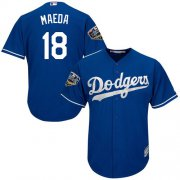 Wholesale Cheap Dodgers #18 Kenta Maeda Blue Cool Base 2018 World Series Stitched Youth MLB Jersey