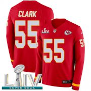 Wholesale Cheap Nike Chiefs #55 Frank Clark Red Super Bowl LIV 2020 Team Color Men's Stitched NFL Limited Therma Long Sleeve Jersey