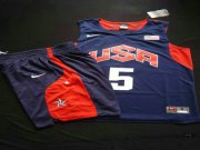Wholesale Cheap 2012 Olympics Team USA 5 Kevin Durant Blue Basketball Suit