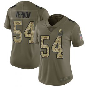 Wholesale Cheap Nike Browns #54 Olivier Vernon Olive/Camo Women\'s Stitched NFL Limited 2017 Salute to Service Jersey