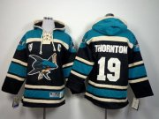Wholesale Cheap Sharks #19 Joe Thornton Black Sawyer Hooded Sweatshirt Stitched Youth NHL Jersey