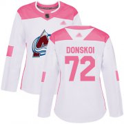 Wholesale Cheap Adidas Avalanche #72 Joonas Donskoi White/Pink Authentic Fashion Women's Stitched NHL Jersey