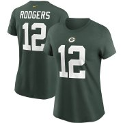 Wholesale Cheap Green Bay Packers #12 Aaron Rodgers Nike Women's Team Player Name & Number T-Shirt Green