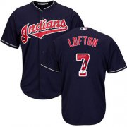 Wholesale Cheap Indians #7 Kenny Lofton Navy Blue Team Logo Fashion Stitched MLB Jersey