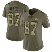 Wholesale Cheap Nike Chiefs #87 Travis Kelce Olive/Camo Women's Stitched NFL Limited 2017 Salute to Service Jersey