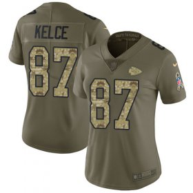 Wholesale Cheap Nike Chiefs #87 Travis Kelce Olive/Camo Women\'s Stitched NFL Limited 2017 Salute to Service Jersey