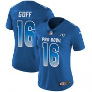 Wholesale Cheap Nike Rams #16 Jared Goff Royal Women's Stitched NFL Limited NFC 2018 Pro Bowl Jersey