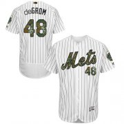 Wholesale Cheap Mets #48 Jacob DeGrom White(Blue Strip) Flexbase Authentic Collection Memorial Day Stitched MLB Jersey