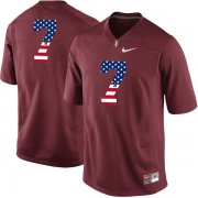 Wholesale Cheap Stanford Cardinal No.7 Red USA Flag College Football Limited Jersey