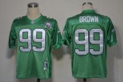 Wholesale Cheap Mitchell And Ness Eagles #99 Jerome Brown Green Stitched Throwback NFL Jersey
