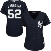 Wholesale Cheap Yankees #52 C.C. Sabathia Navy Blue Alternate Women's Stitched MLB Jersey