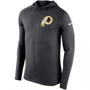 Wholesale Cheap Men's Washington Redskins Nike Charcoal Stadium Touch Hooded Performance Long Sleeve T-Shirt