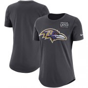 Wholesale Cheap NFL Women's Baltimore Ravens Nike Anthracite Crucial Catch Tri-Blend Performance T-Shirt