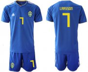 Wholesale Cheap Sweden #7 Larsson Away Soccer Country Jersey