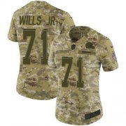 Wholesale Cheap Nike Browns #71 Jedrick Wills JR Camo Women's Stitched NFL Limited 2018 Salute To Service Jersey