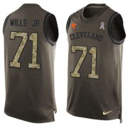 Wholesale Cheap Nike Browns #71 Jedrick Wills JR Green Men's Stitched NFL Limited Salute To Service Tank Top Jersey