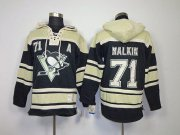 Wholesale Cheap Penguins #71 Evgeni Malkin Black Sawyer Hooded Sweatshirt Stitched NHL Jersey