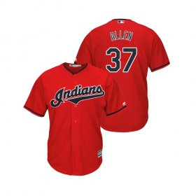 Wholesale Cheap Indians #37 Cody Allen Scarlet Alternate 2019 Cool Base Stitched MLB Jersey