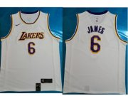 Wholesale Cheap Men's Los Angeles Lakers #6 LeBron James White Nike NBA Association Edition Authentic Jersey