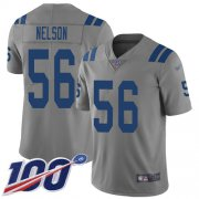 Wholesale Cheap Nike Colts #56 Quenton Nelson Gray Men's Stitched NFL Limited Inverted Legend 100th Season Jersey