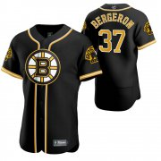 Wholesale Cheap Boston Bruins #37 Patrice Bergeron Men's 2020 NHL x MLB Crossover Edition Baseball Jersey Black