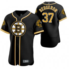 Wholesale Cheap Boston Bruins #37 Patrice Bergeron Men\'s 2020 NHL x MLB Crossover Edition Baseball Jersey Black