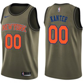 Wholesale Cheap Nike Knicks #00 Enes Kanter Green Salute to Service NBA Swingman Jersey