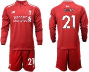 Wholesale Cheap Liverpool #21 Lucas Home Long Sleeves Soccer Club Jersey