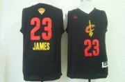 Wholesale Cheap Men's Cleveland Cavaliers #23 LeBron James 2015 The Finals 2015 Black With Red Fashion Jersey