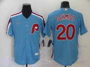 Wholesale Cheap Men's Philadelphia Phillies #20 Mike Schmidt Light Blue Cooperstown Collection Stitched MLB Nike Jersey