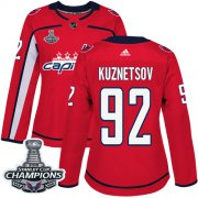 Wholesale Cheap Adidas Capitals #92 Evgeny Kuznetsov Red Home Authentic Stanley Cup Final Champions Women's Stitched NHL Jersey