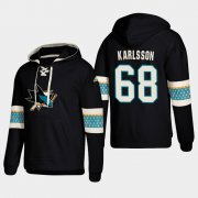 Wholesale Cheap San Jose Sharks #68 Melker Karlsson Black adidas Lace-Up Pullover Hoodie
