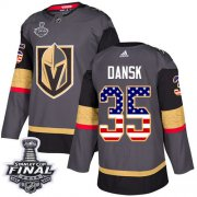 Wholesale Cheap Adidas Golden Knights #35 Oscar Dansk Grey Home Authentic USA Flag 2018 Stanley Cup Final Stitched Youth NHL Jersey
