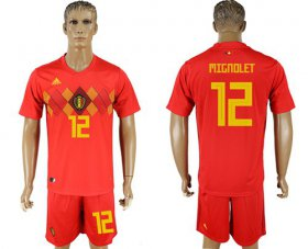 Wholesale Cheap Belgium #12 Mignolet Red Soccer Country Jersey