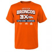 Wholesale Cheap Denver Broncos Youth Super Bowl 50 Champions 3-Time Champs Award Tour T-Shirt Orange