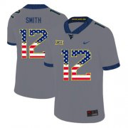 Wholesale Cheap West Virginia Mountaineers 12 Geno Smith Gray USA Flag College Football Jersey