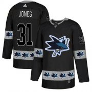 Wholesale Cheap Adidas Sharks #31 Martin Jones Black Authentic Team Logo Fashion Stitched NHL Jersey