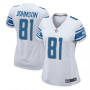 Wholesale Cheap Nike Lions #81 Calvin Johnson White Women's Stitched NFL Elite Jersey
